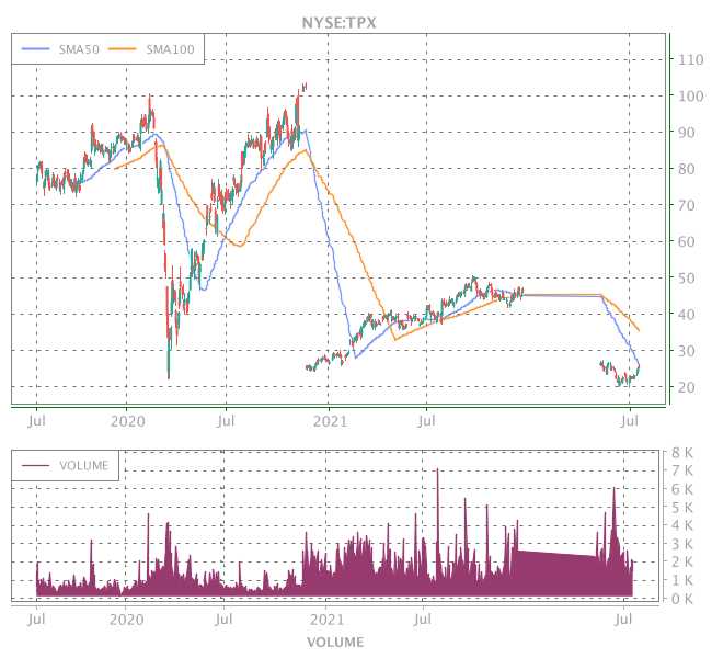 3 Years OHLC Graph (NYSE:TPX)